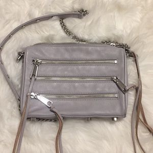 Rebecca Minkoff Grey Moto Three Zip Crossbody Bag